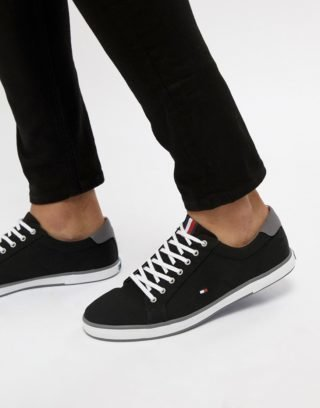 Tommy Hilfiger Harlow Lace Up Canvas Plimsolls in Black