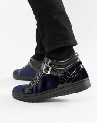 House of Hounds House Of Hounds Griffin mid top trainers in navy velvet