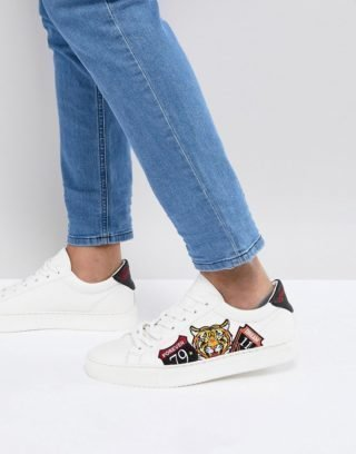 Good For Nothing trainers in white with tiger embroidery