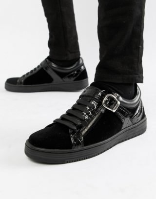 House of Hounds House Of Hounds Hydra low top trainers in black velvet