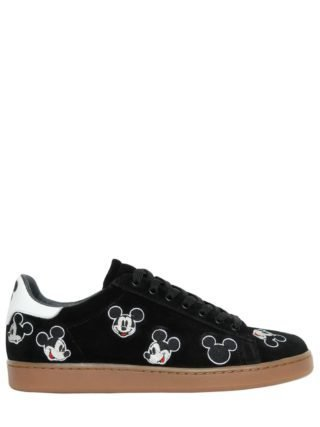 Mickey Mouse Embroidered Suede Sneakers (zwart)