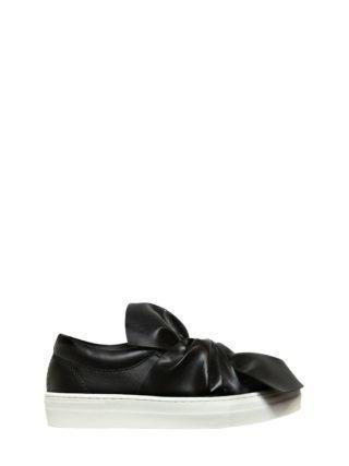 Faux Leather Slip-on Sneakers W/ Bow (zwart)