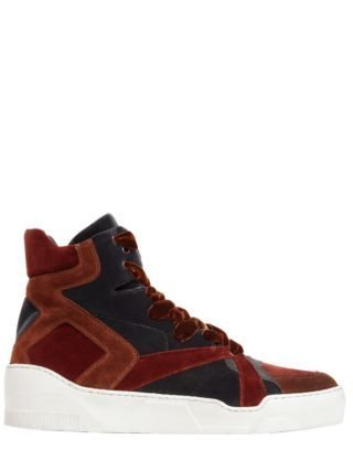 Two Tone Velvet High Top Sneakers (multicolor)