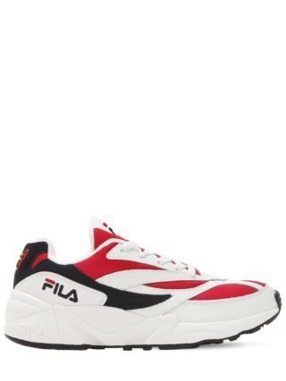 Venom Mesh & Leather Sneakers (wit/rood)