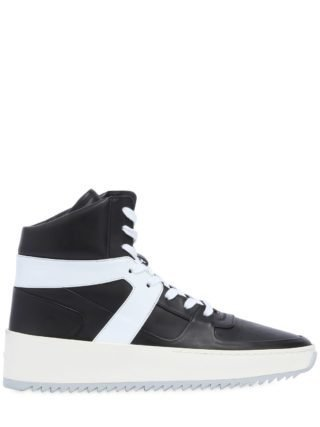 Bball Leather High Top Sneakers (zwart)