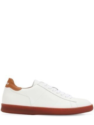 Leather Low Top Sneakers (wit/bruin)
