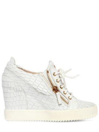 85mm Croc Leather Wedged Sneakers (wit)
