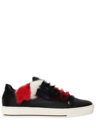 20mm Mink Fur & Leather Sneakers (zwart/multicolor)