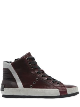 Washed Leather High Top Sneakers (rood)