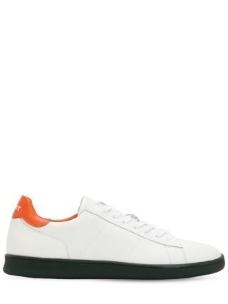 Leather Low Top Sneakers (wit/oranje)