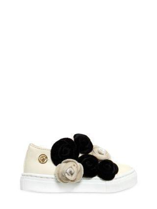 Nappa Leather Sneakers W/ Velvet Flowers (creme)