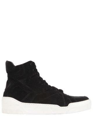 Velvet High Top Sneakers (zwart)