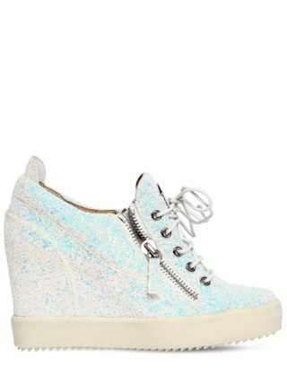 85mm Glitter Zip Up Wedged Sneakers (wit)