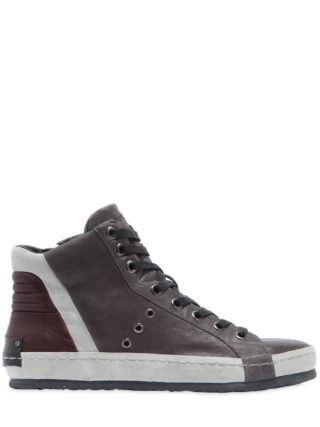 Washed Leather High Top Sneakers (grijs)