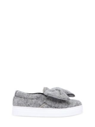Wool Felt Slip-on Sneakers W/ Bow (grijs)