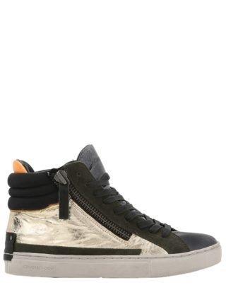 20mm Metallic Leather & Suede Sneakers (goud/zwart)