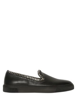 Chain Leather Slip-on Sneakers (zwart)