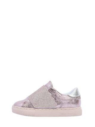 Metallic Leather Strap Sneakers (roze)