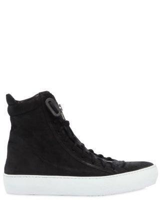 Zip-up Waxed Leather High Top Sneakers (zwart)