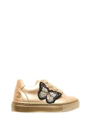 Embellished Faux Leather Sneakers (goud)