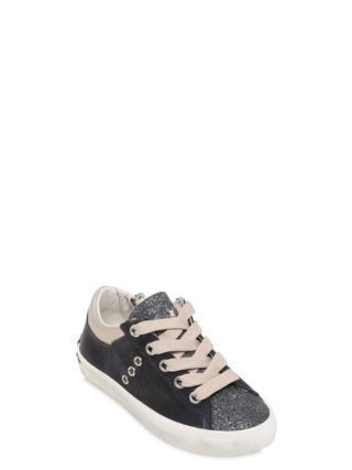 Nappa & Glittered Leather Sneakers (blauw)