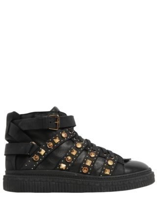 Studded Leather Mid Top Sneakers (zwart)
