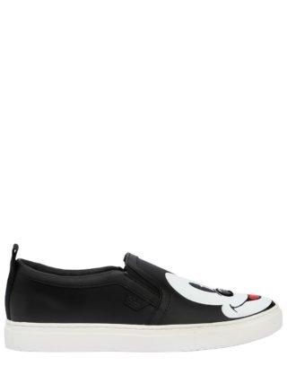 Disney Printed Leather Slip-on Sneakers (zwart)