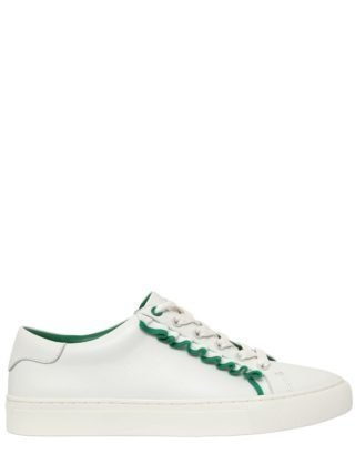 20mm Ruffled Leather Sneakers (wit/groen)