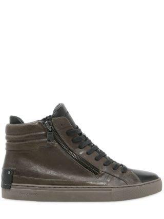 Double Zip Leather High Top Sneakers (groen)