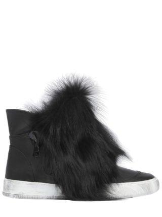 20mm Fox Fur & Leather High Top Sneakers (zwart)