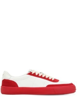 Leather Low Top Sneakers (wit/rood)