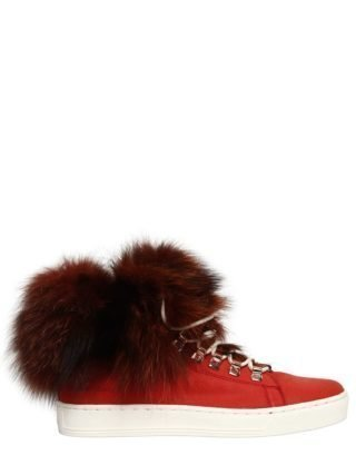 20mm Fox Fur & Leather Sneakers (rood)