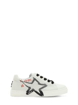 Stars Printed Leather Sneakers (wit)