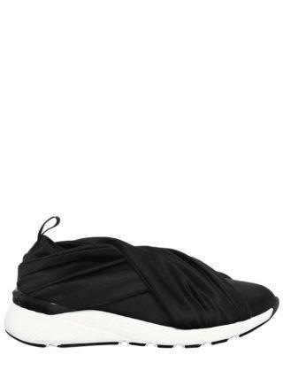 30mm Stretch Satin Slip-on Sneakers (zwart)