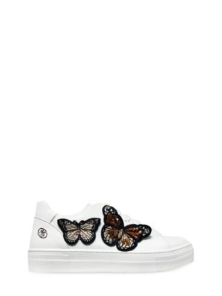 Embellished Faux Leather Sneakers (wit)