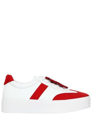 40mm Payton Leather & Suede Sneakers (wit/rood)