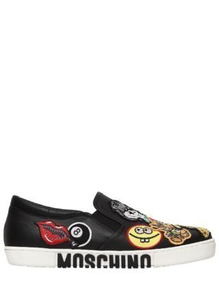 20mm Patches Leather Slip-on Sneakers (zwart)