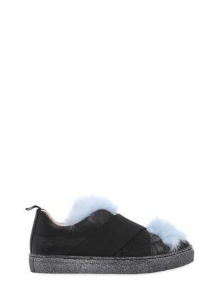 Nappa Leather & Fur Slip-on Sneakers (zwart/blauw)