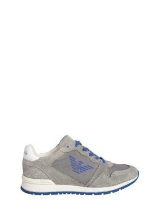 Logo Nylon & Suede Running Sneakers (grijs/blauw)