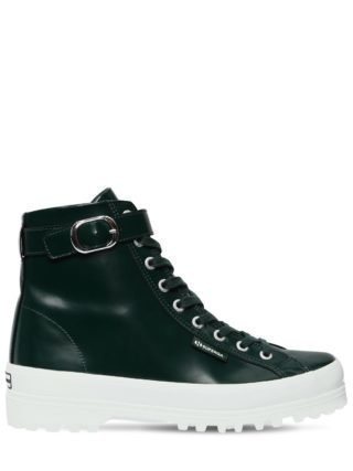 Superga 40mm Leather High Top Sneakers (groen)