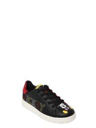 Mickey Print Nappa Leather Sneakers (zwart/rood)
