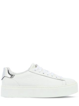 40mm Tennis Leather Platform Sneakers (wit/zilver)