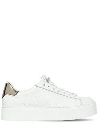 40mm Tennis Leather Platform Sneakers (wit/goud)