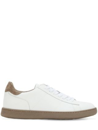 Leather Low Top Sneakers (wit/taupe)