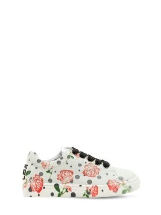 Rose Printed Leather Sneakers (wit)