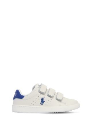 Logo Embroidered Leather Strap Sneakers (wit)