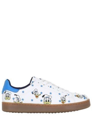 Donald Duck Embroidered Leather Sneakers (wit)