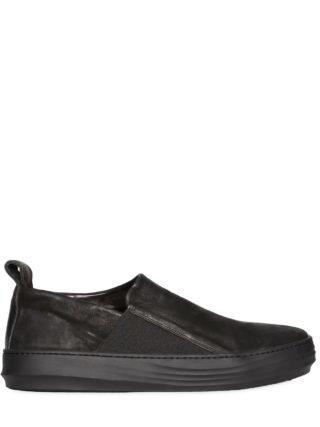 Waxed Leather Slip-on Sneakers (zwart)