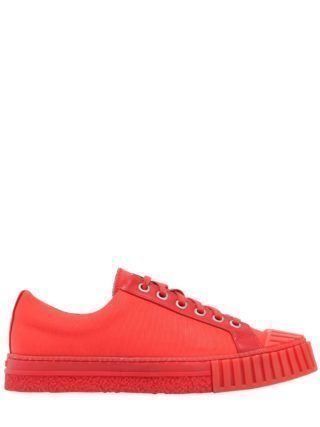 Canvas & Leather Sneakers (rood)