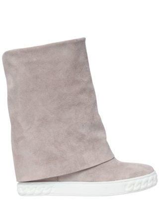 80mm Suede Wedge Sneakers (roze)